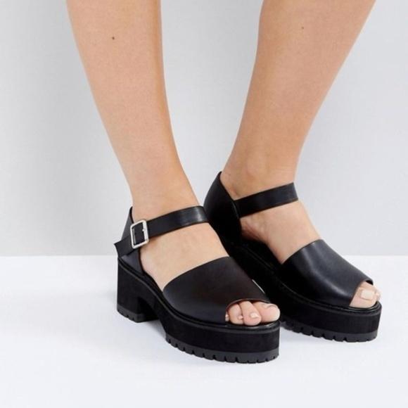 c82e5cd784e ASOS Shoes - ASOS Chunky Heel Platform Sandals Black Size 10